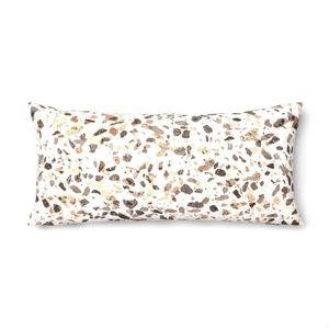 Beige Print Terrazzo Oversize Lumbar Throw Pillow